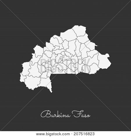 Burkina Faso Region Map: White Outline On Grey Background. Detailed Map Of Burkina Faso Regions. Vec