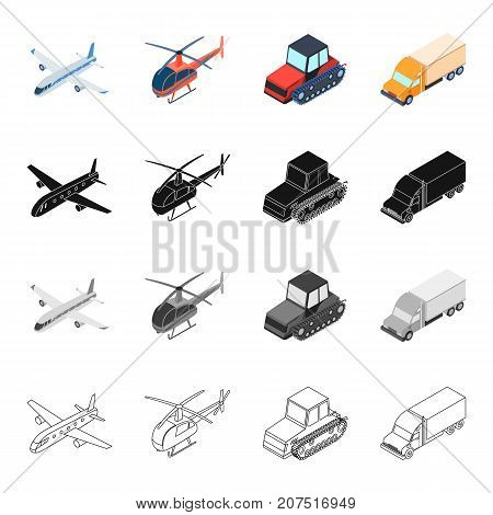 Air transport aircraft, helicopter, truck, agricultural tractor. Transport set collection icons in cartoon black monochrome outline style vector symbol stock illustration isometric .