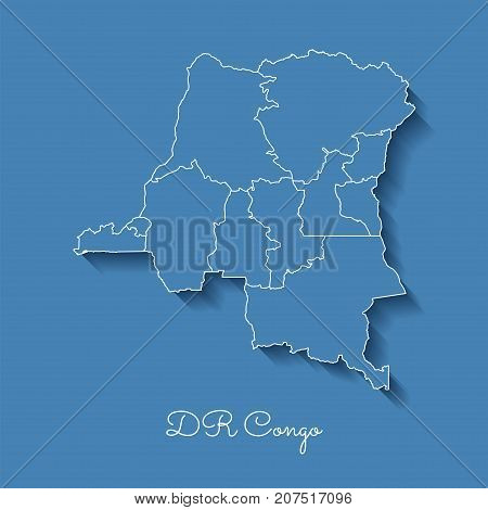 Dr Congo Region Map: Blue With White Outline And Shadow On Blue Background. Detailed Map Of Dr Congo