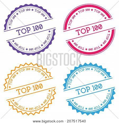 Top 100 Badge Isolated On White Background. Flat Style Round Label With Text. Circular Emblem Vector