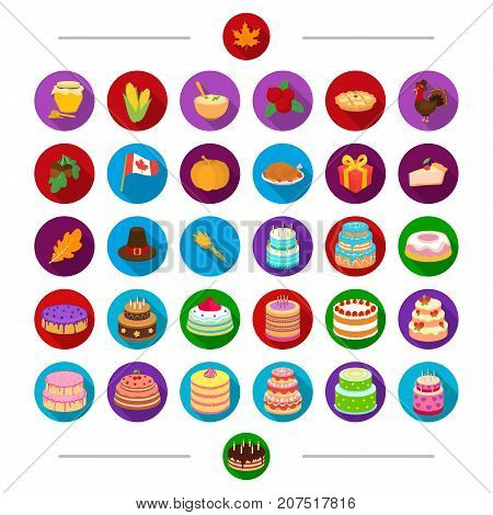 Canada, nature, cooking and other  icon in cartoon style . Attributes, products, holiday, icons in set collection