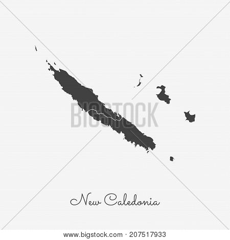 New Caledonia Region Map: Grey Outline On White Background. Detailed Map Of New Caledonia Regions. V