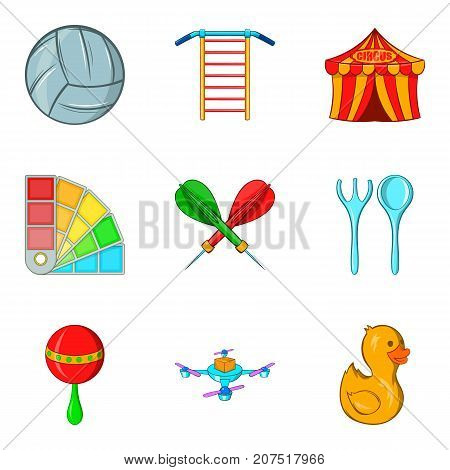 Outdoor fun icons set. Cartoon set of 9 outdoor fun vector icons for web isolated on white background