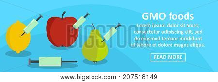 GMO foods banner horizontal concept. Flat illustration of GMO foods banner horizontal vector concept for web design