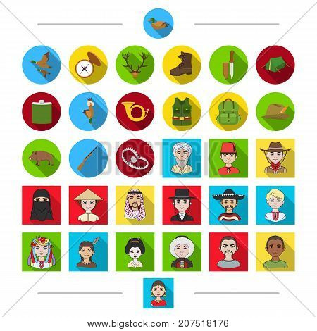 Accessories, weapons, attributes and other  icon in cartoon style. National, nationality, clothing icons in set collection.