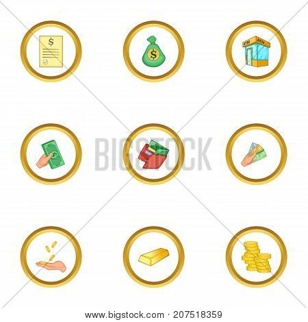 Bank icons set. Cartoon style set of 9 bank vector icons for web design