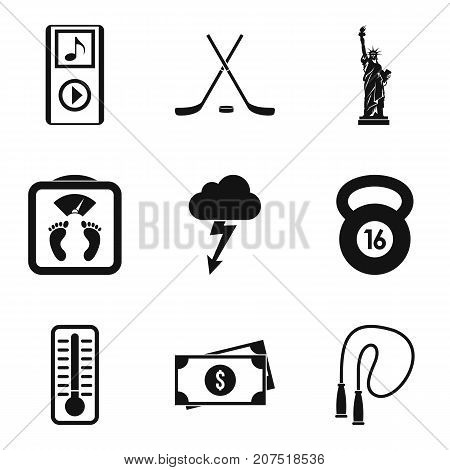 Training before cup icons set. Simple set of 9 training before cup vector icons for web isolated on white background