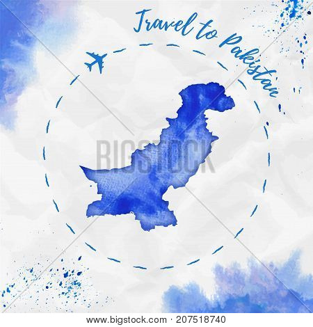 Pakistan Watercolor Map In Blue Colors. Travel To Pakistan Poster With Airplane Trace And Handpainte