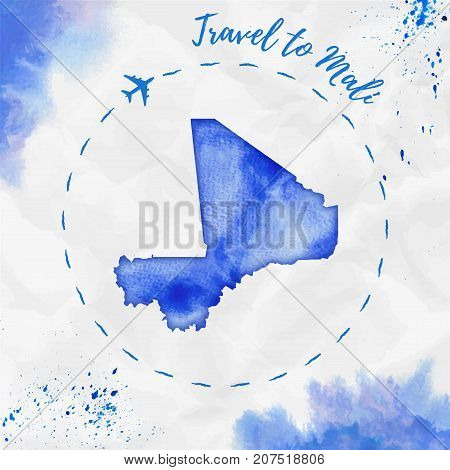Mali Watercolor Map In Blue Colors. Travel To Mali Poster With Airplane Trace And Handpainted Waterc