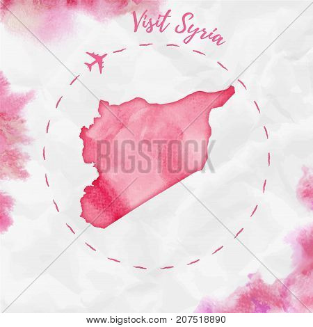 Syria Watercolor Map In Red Colors. Visit Syria Poster With Airplane Trace And Handpainted Watercolo