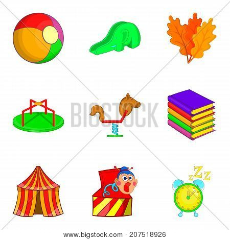 Circus arena icons set. Cartoon set of 9 circus arena vector icons for web isolated on white background