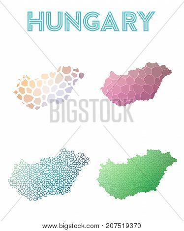 Hungary Polygonal Map. Mosaic Style Maps Collection. Bright Abstract Tessellation, Geometric, Low Po