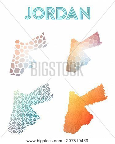 Jordan Polygonal Map. Mosaic Style Maps Collection. Bright Abstract Tessellation, Geometric, Low Pol