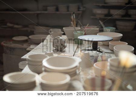 Various pottery equipment on worktop