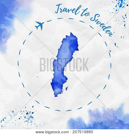 Sweden Watercolor Map In Blue Colors. Travel To Sweden Poster With Airplane Trace And Handpainted Wa