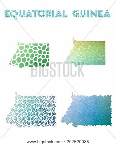 Equatorial Guinea Polygonal Map. Mosaic Style Maps Collection. Bright Abstract Tessellation, Geometr
