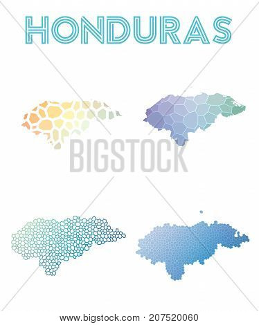 Honduras Polygonal Map. Mosaic Style Maps Collection. Bright Abstract Tessellation, Geometric, Low P