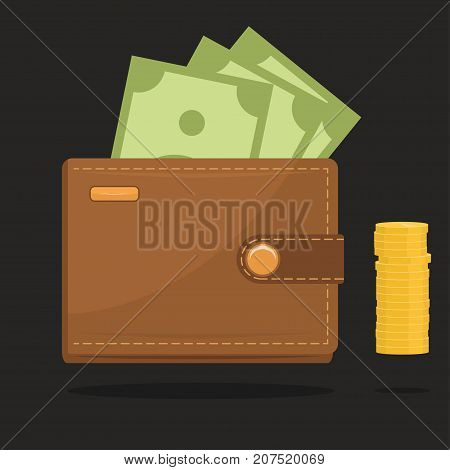 Wallet full of money. Paper bank none and gold coins. Flat style vector