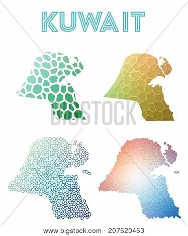 Kuwait Polygonal Map. Mosaic Style Maps Collection. Bright Abstract Tessellation, Geometric, Low Pol