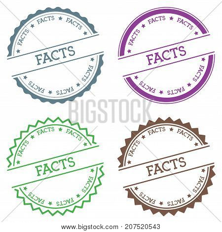 Facts Badge Isolated On White Background. Flat Style Round Label With Text. Circular Emblem Vector I