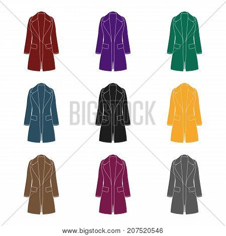 Blue female restrained coat buttoned. Women's outerwear.Women clothing single icon in black style vector symbol stock web illustration.