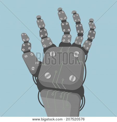 The metal hand of a cyborg with wires of gray color on a blue background