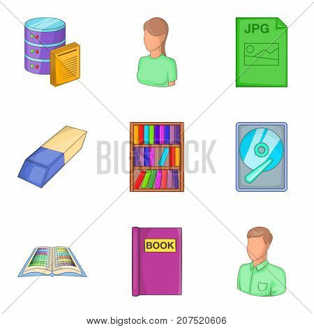 Library icons set. Cartoon set of 9 library vector icons for web isolated on white background