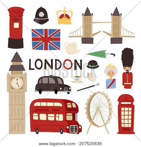 London travel icons english set, city flag europe culture tourism england traditional vector illustration. Famous british city architecture and britain elements.