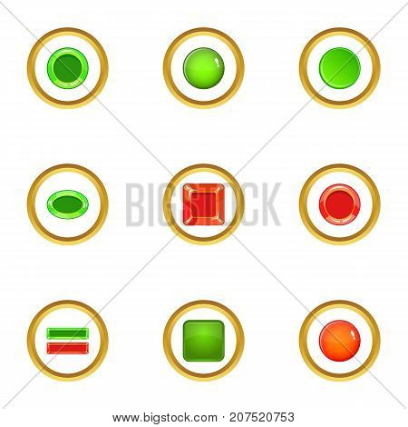 Switch element icons set. cartoon style set of 9 switch element vector icons for web design