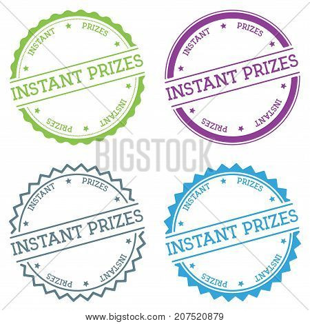 Instant Prizes Badge Isolated On White Background. Flat Style Round Label With Text. Circular Emblem