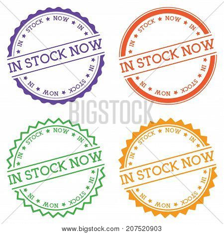 In Stock Now Badge Isolated On White Background. Flat Style Round Label With Text. Circular Emblem V