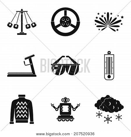 Active children icons set. Simple set of 9 active children vector icons for web isolated on white background