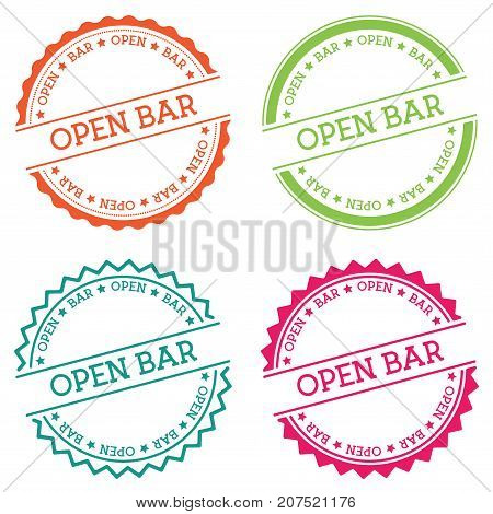 Open Bar Badge Isolated On White Background. Flat Style Round Label With Text. Circular Emblem Vecto