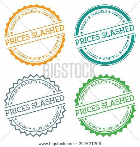 Prices Slashed Badge Isolated On White Background. Flat Style Round Label With Text. Circular Emblem