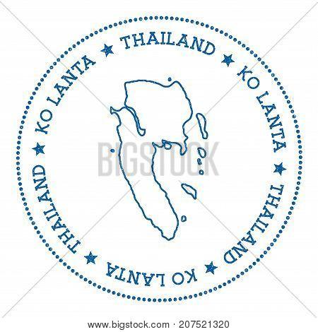Ko Lanta Map Sticker. Hipster And Retro Style Badge. Minimalistic Insignia With Round Dots Border. I