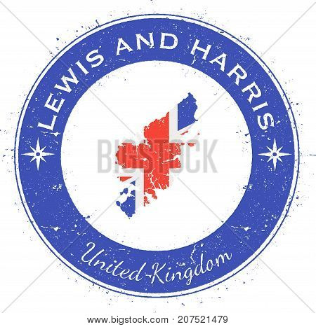 Lewis And Harris Circular Patriotic Badge. Grunge Rubber Stamp With Island Flag, Map And Name Writte