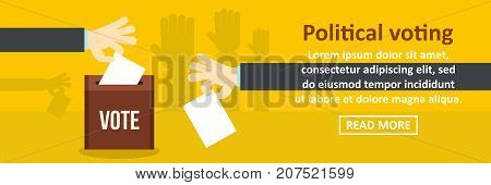Political voting banner horizontal concept. Flat illustration of political voting banner horizontal vector concept for web design