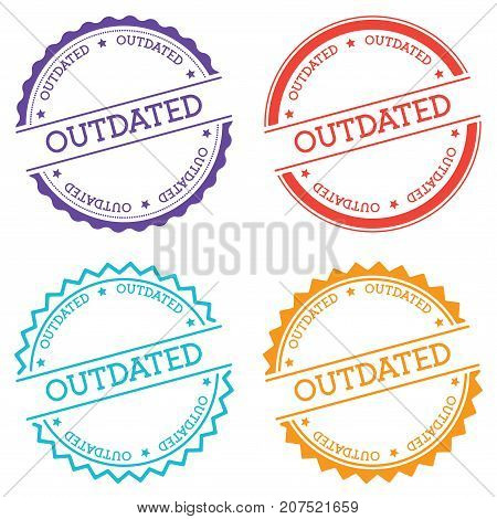 Outdated Badge Isolated On White Background. Flat Style Round Label With Text. Circular Emblem Vecto