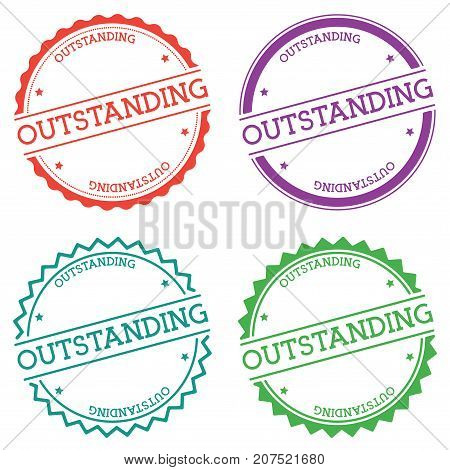 Outstanding Badge Isolated On White Background. Flat Style Round Label With Text. Circular Emblem Ve