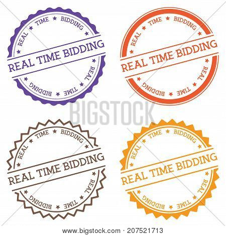 Real Time Bidding Badge Isolated On White Background. Flat Style Round Label With Text. Circular Emb