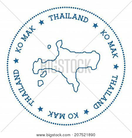 Ko Mak Map Sticker. Hipster And Retro Style Badge. Minimalistic Insignia With Round Dots Border. Isl