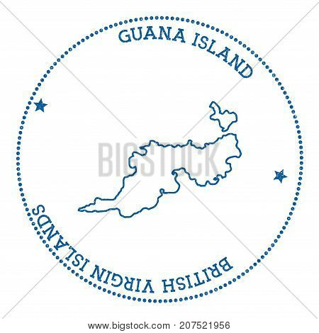 Guana Island Map Sticker. Hipster And Retro Style Badge. Minimalistic Insignia With Round Dots Borde