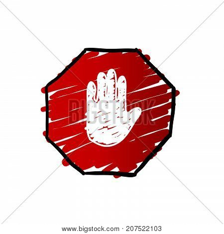 stop trafficking sign colored art illustration on white