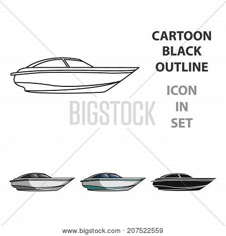 A small white boat with a motor.Boat for speed and competition.Ship and water transport single icon in cartoon style vector symbol stock web illustration.