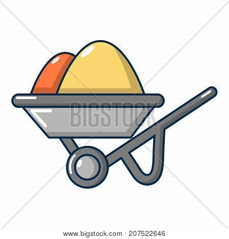 Wheelbarrow icon. Cartoon illustration of wheelbarrow vector icon for web