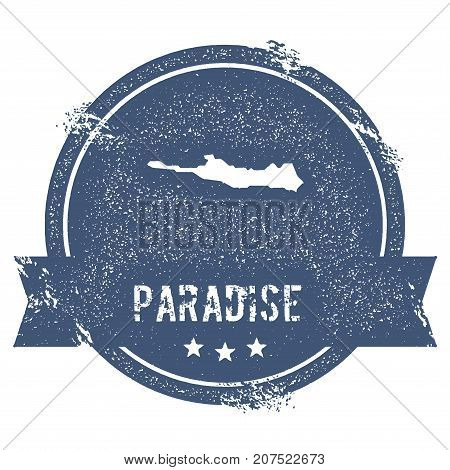 Paradise Island Logo Sign. Travel Rubber Stamp With The Name And Map Of Island, Vector Illustration.