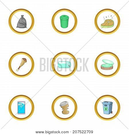 Garbage icons set. cartoon style set of 9 garbage vector icons for web design