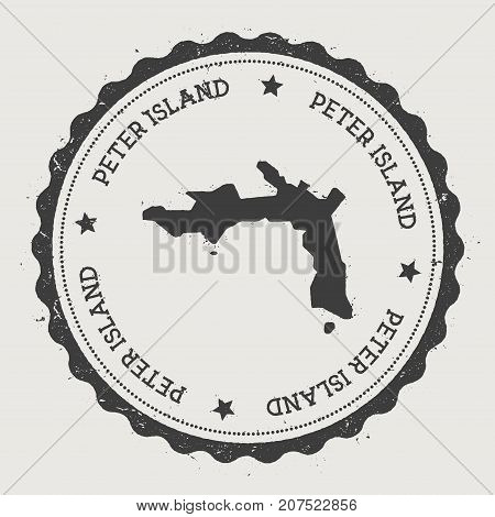Peter Island Sticker. Hipster Round Rubber Stamp With Island Map. Vintage Passport Sign With Circula