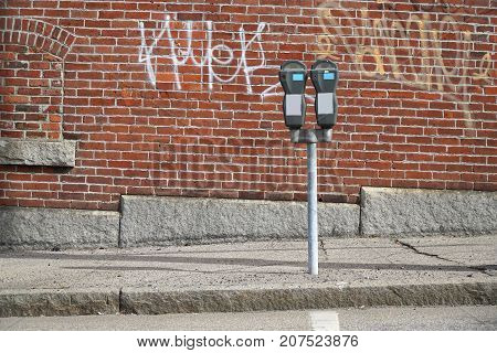 parking meter at the side of street