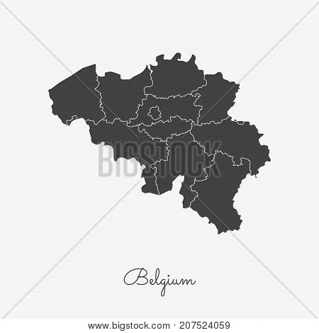 Belgium Region Map: Grey Outline On White Background. Detailed Map Of Belgium Regions. Vector Illust
